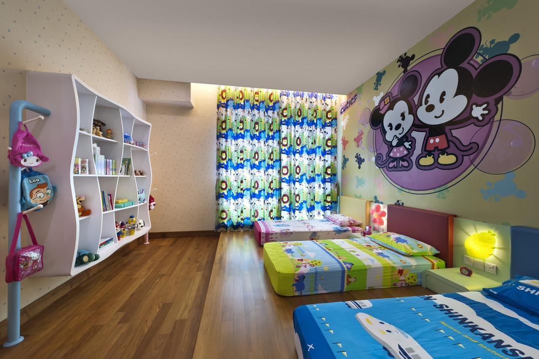 Thomson Bungalow, Space Vision Design, Eclectic, Bedroom, Landed, Kids, Wallpaper, Shelf, Display, Unit, Parquet, Flooring, Standing, Rack, Hanger, Woodwork, Kids Room, Cubbyholes, Storage, Shelves