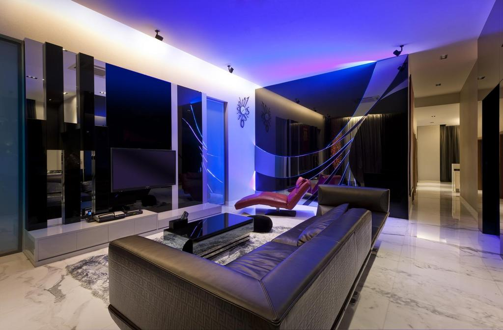 Eclectic, Landed, Living Room, Thomson Bungalow, Interior Designer, Space Vision Design, Black, Leather, Sofa, White, Marble, Veins, Console, Feature, Wall, Cutout, Lounge Chair, Coffee Table, Indoors, Interior Design