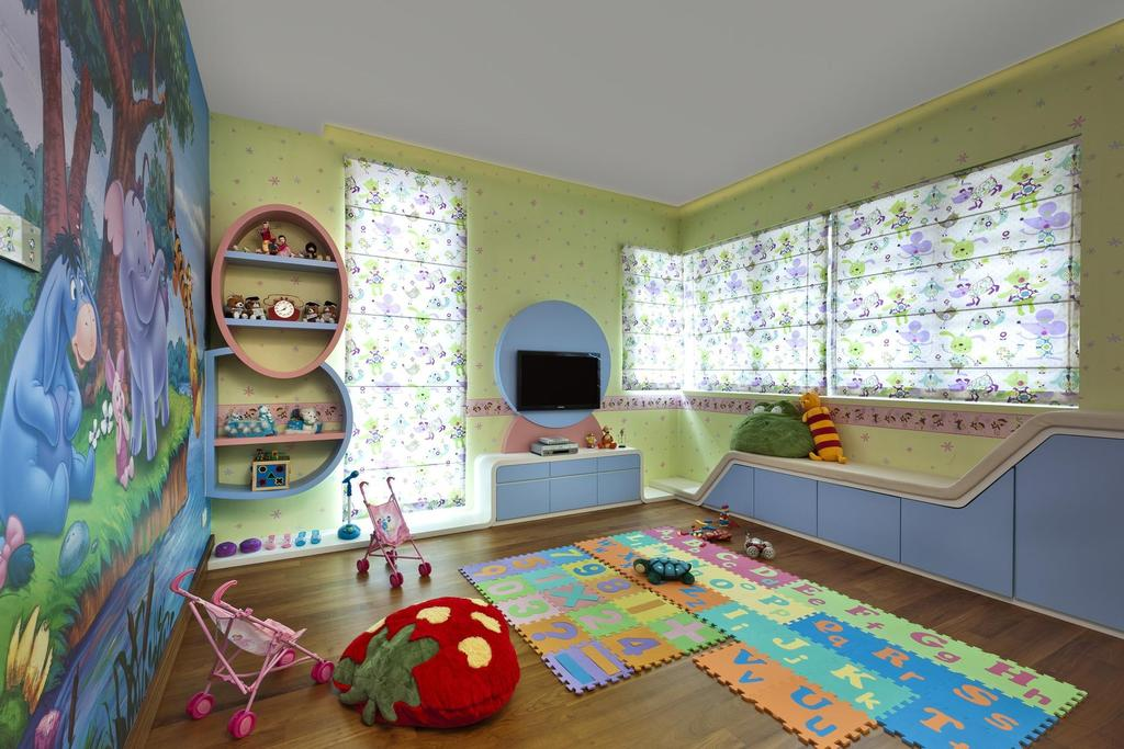 Eclectic, Landed, Thomson Bungalow, Interior Designer, Space Vision Design, Kids, Shelf, Woodwork, Green, Blue, Parquet, Flooring, Display, Unit, Blinds, Floral, Wallpaper, Kids Room, Display Shelf, Tv Console, Window Seat, Shelves, Indoors, Interior Design, Room