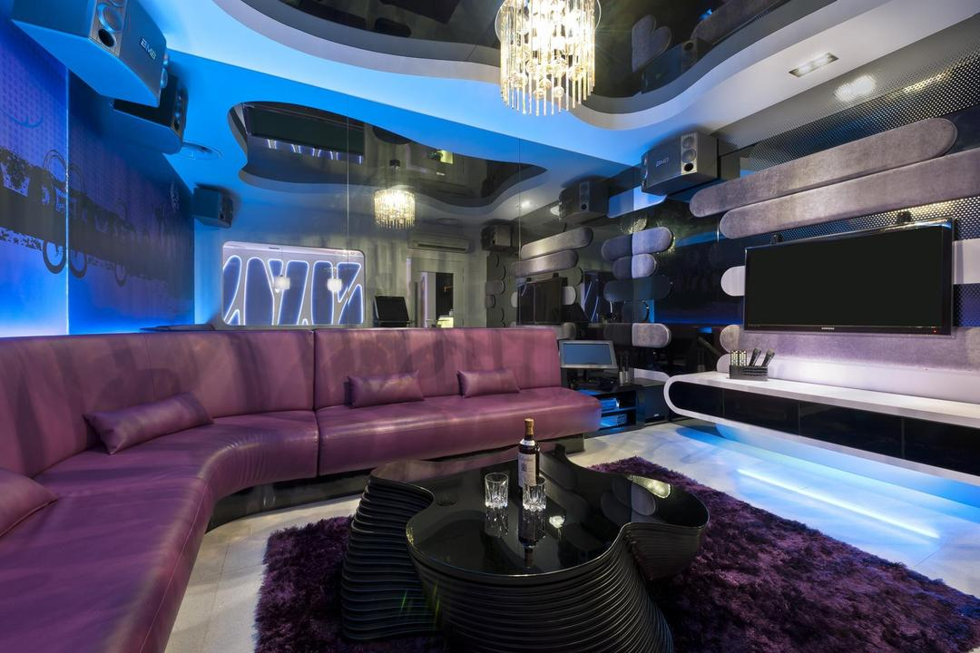 Thomson Bungalow, Space Vision Design, Eclectic, Living Room, Landed, Mounted Speakers, Feature Wall, Mirror, Tv Console, Coffee Table, Table, Sofa, Rug, White, Purple, False Ceiling, Chandelier, Wallpaper, Lounge, Couch, Furniture