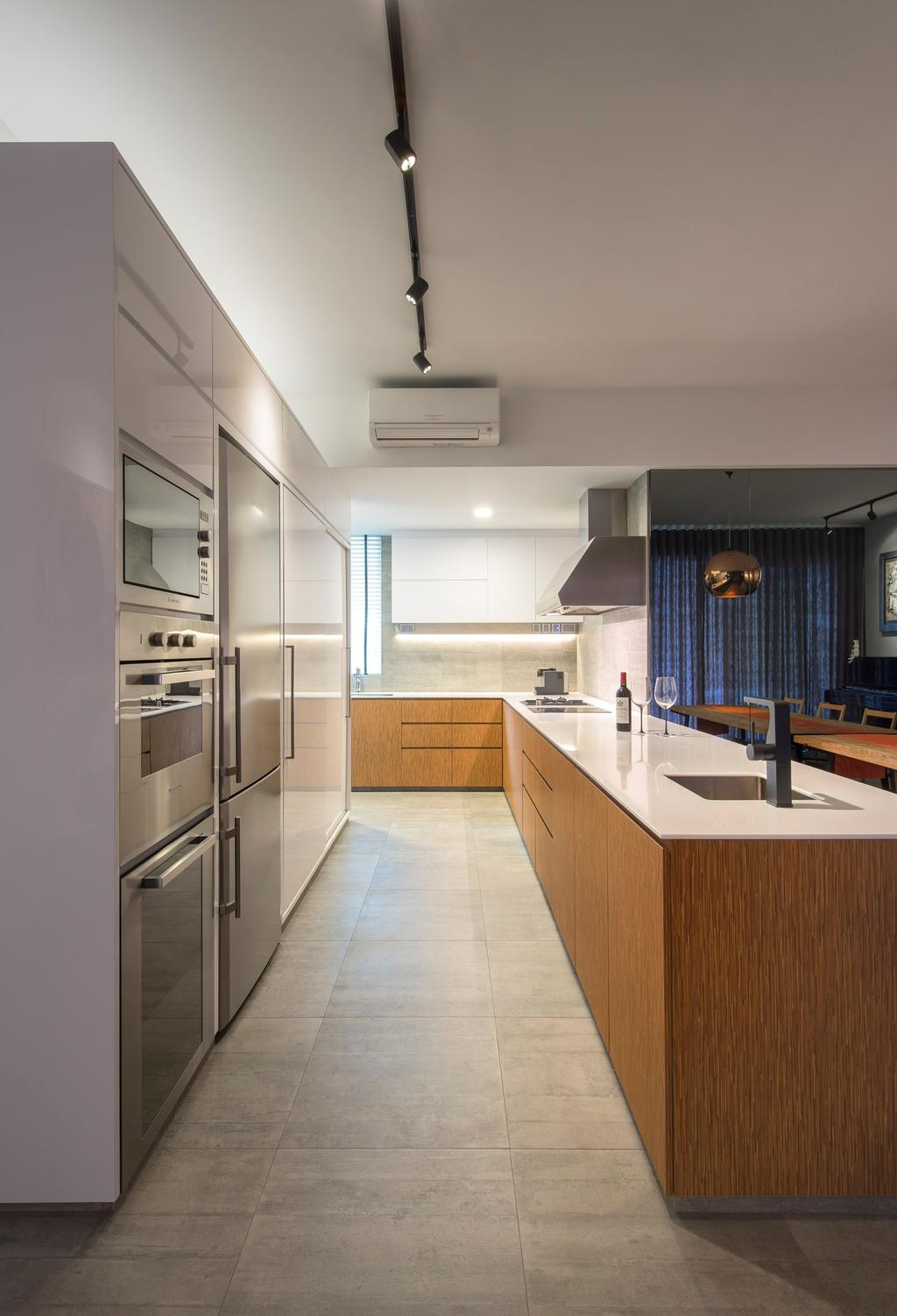 Eclectic, Condo, Kitchen, Caribbean at Keppel Bay, Interior Designer, Space Vision Design, Linear, White, Metallic, Track Lighting, Tile, Tiles, Marble Surafce, Wood, Laminate, Wood Laminate, Hanging Light, Pendant Light, Exhaust Hood, Mirror, Indoors, Interior Design, Room