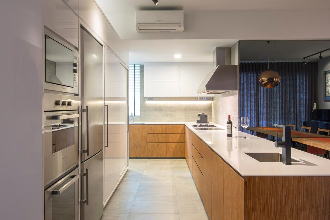 Caribbean at Keppel Bay, Space Vision Design, Eclectic, Kitchen, Condo, Linear, White, Metallic, Track Lighting, Tile, Tiles, Marble Surafce, Wood, Laminate, Wood Laminate, Hanging Light, Pendant Light, Exhaust Hood, Mirror, Indoors, Interior Design, Room