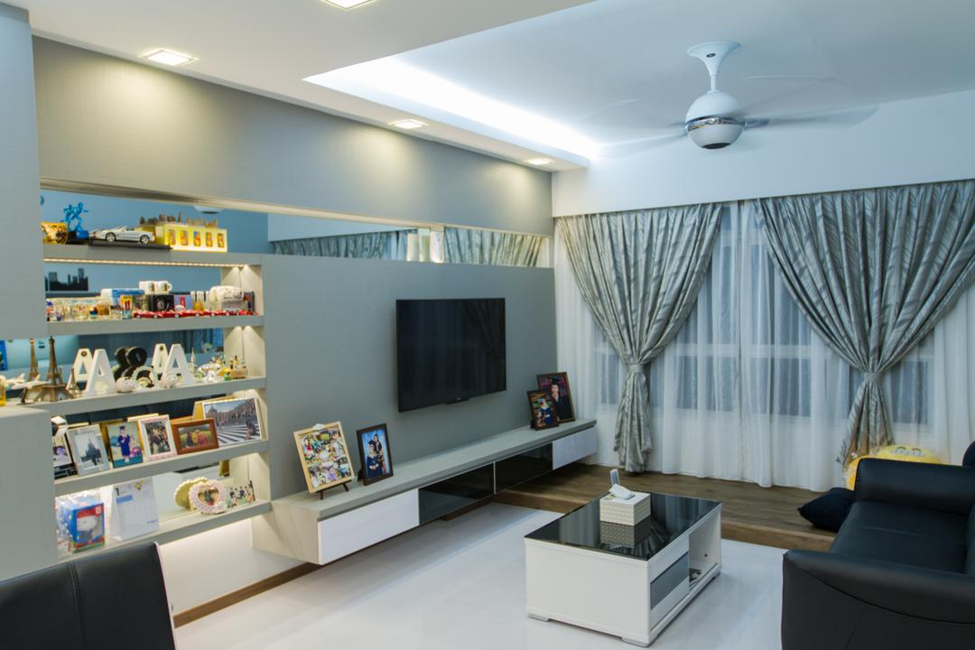 Yishun Ring Road, MET Interior, Traditional, Living Room, HDB, Tv, Tv Console, Tv Cabinet, Sofa, Couch, Black Sofa, Coffee Table, Platform, Ceiling Fan, Cove Lighting, Grey, Grey Wall, Shelves, Recessed Shelves, Shelving, Display, Furniture, Shelf, Table, Indoors, Interior Design