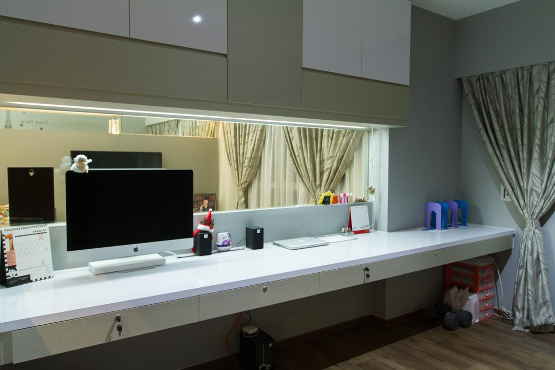 Yishun Ring Road, MET Interior, Traditional, HDB, Study Table, Computer Desk, Computer, Desktop, Workstation, Glass, Cabinet, Cabinetry, Building, Housing, Indoors, Loft, Curtain, Home Decor