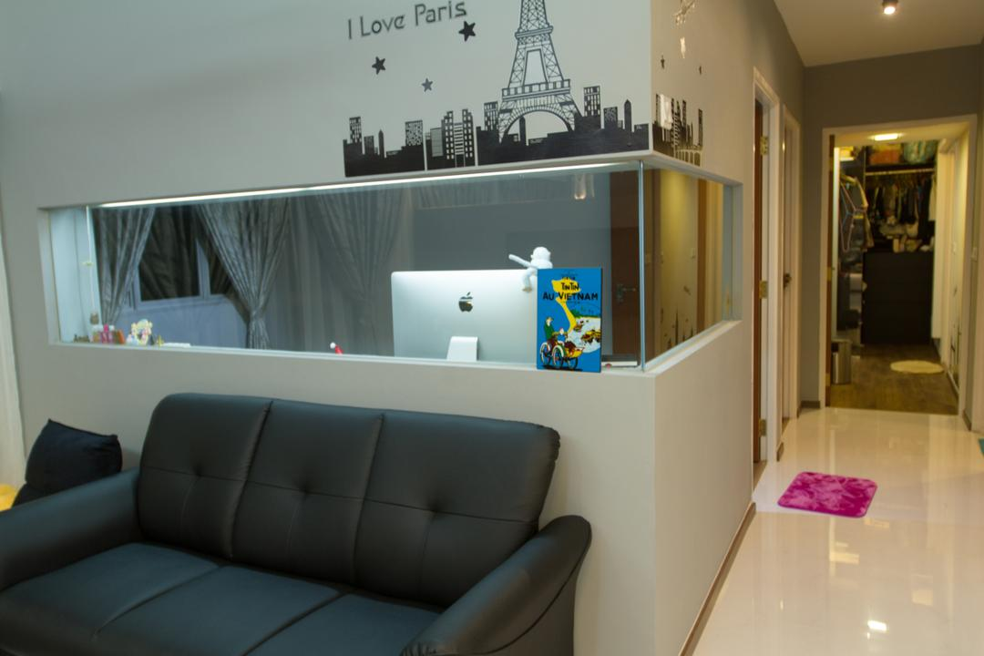 Yishun Ring Road, MET Interior, Traditional, Living Room, HDB, Sofa, Couch, Black Sofa, Dark Furniture, Half Hack, Hacked Wall, Wallpaper, Walkway, Furniture