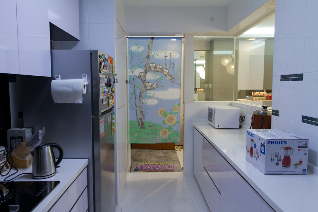 Yishun Ring Road, MET Interior, Traditional, HDB, Kitchen Cabinet, Kitchen Countertop, Refrigerator, Cabinetry, White Cabinet, White Kitchen Cabinet, Atlas, Diagram, Map, Cup