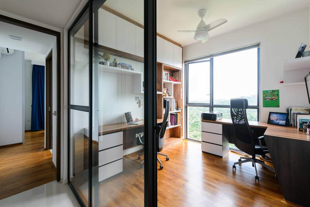 Minimalistic, Condo, Study, Foresque Residences, Interior Designer, Starry Homestead, Hacked Wall, Glass Door, Bright, Airy, Wood Floor, Wooden Flooring, Computer Desk, Study Table, Ceiling Fan, Windows, Shelves, Shelving, Hardwood, Wood, HDB, Building, Housing, Indoors, Loft, Couch, Furniture