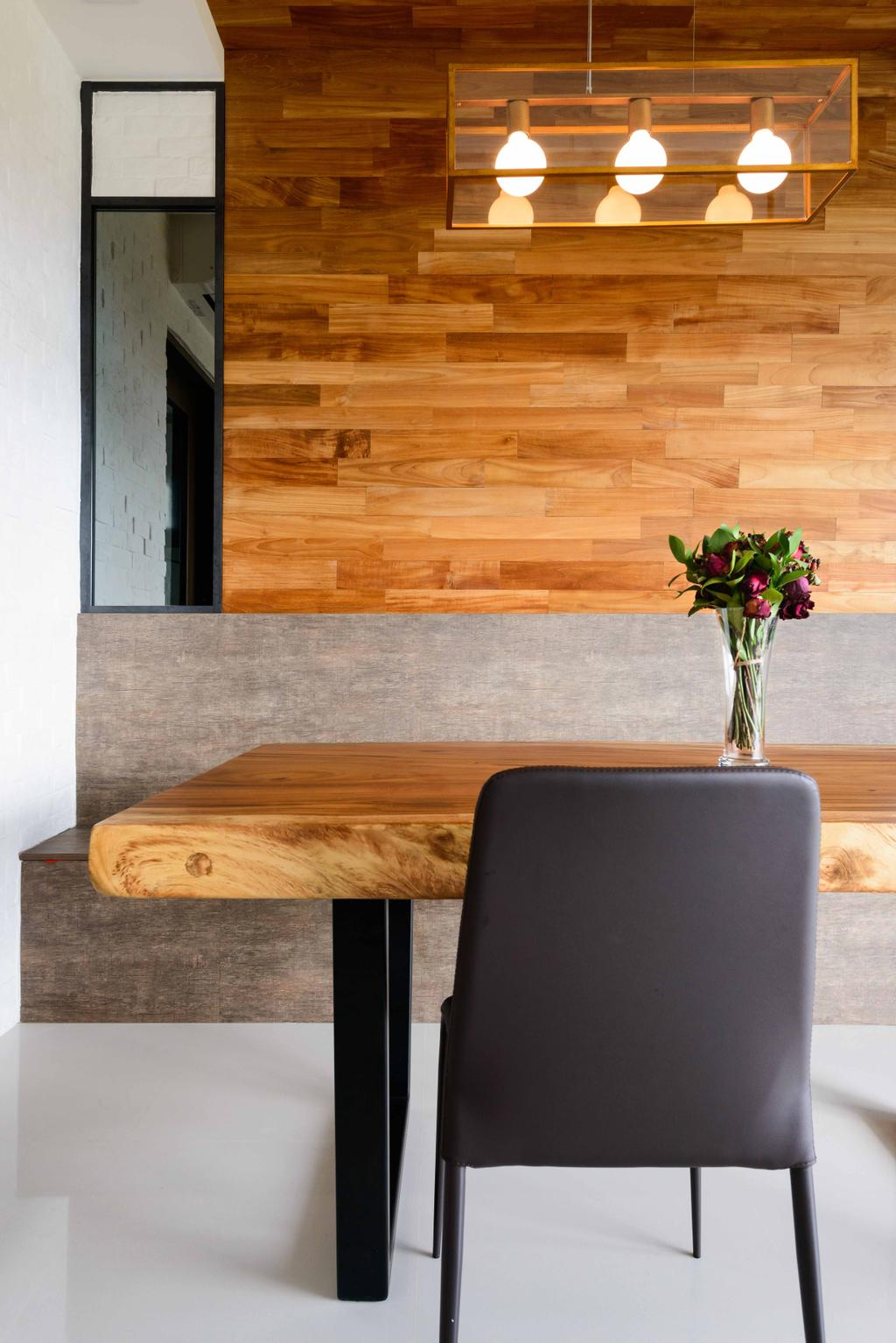 Minimalistic, Condo, Dining Room, Foresque Residences, Interior Designer, Starry Homestead, Dining Table, Dining Chair, Wood Grain, Industrial Style Lamp, Exposed Bulb, Wood Panels, Brick, Furniture, Table, Coffee Table, Wall