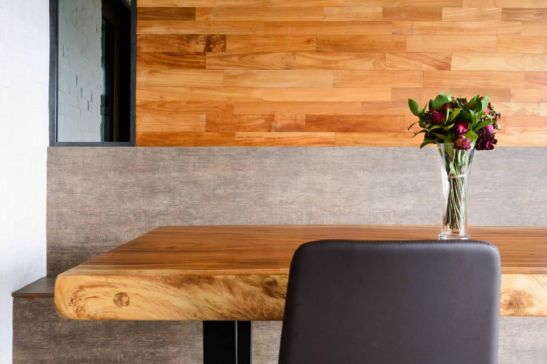 Foresque Residences, Starry Homestead, Minimalist, Dining Room, Condo, Dining Table, Dining Chair, Wood Grain, Industrial Style Lamp, Exposed Bulb, Wood Panels, Brick, Furniture, Table, Coffee Table, Wall