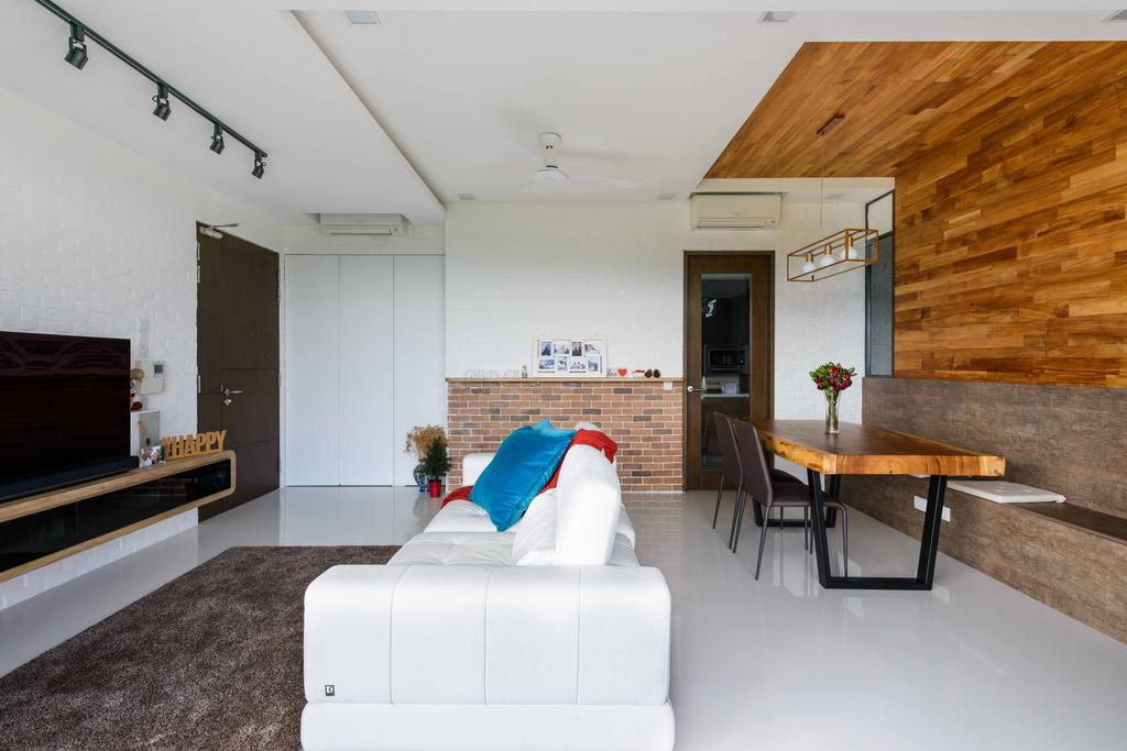 Minimalistic, Condo, Living Room, Foresque Residences, Interior Designer, Starry Homestead, Sofa, Couch, White Sofa, Carpet, Track Lights, Track Lighting, Brick Wall, Tv, Tv Console, Wood, Wood Panels, Feature Wall, Dining Table, Dining Chairs, Furniture, Table, Indoors, Interior Design