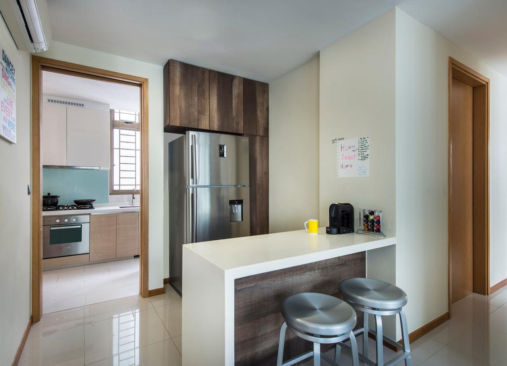 Contemporary, Condo, Kitchen, Waterline, Interior Designer, Ciseern, Marble Tiles, Aluminum Fridge, White Island Table, Bar Stool