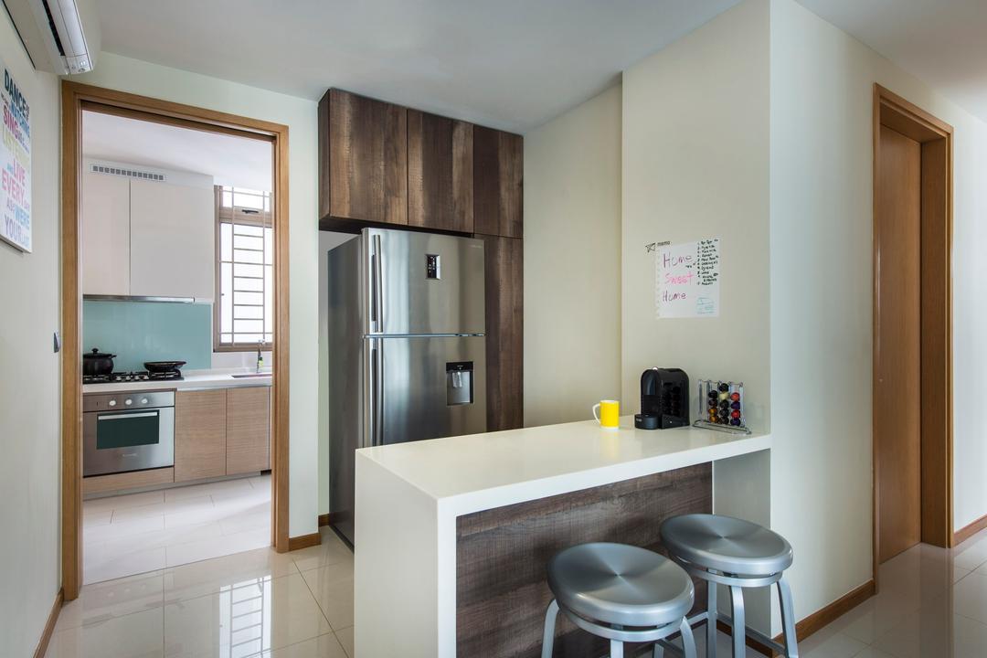 Waterline, Ciseern, Contemporary, Kitchen, Condo, Marble Tiles, Aluminum Fridge, White Island Table, Bar Stool