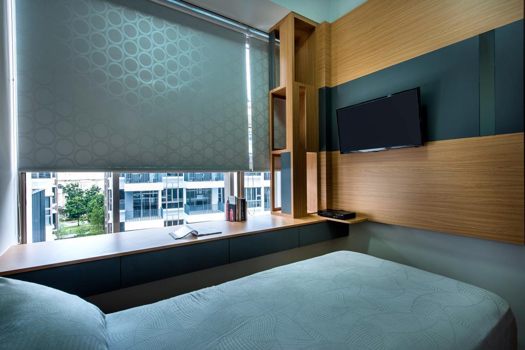 Contemporary, Condo, Bedroom, Waterline, Interior Designer, Ciseern, Roller Blinds, Bay Window, Feature Wall, Indoors, Interior Design
