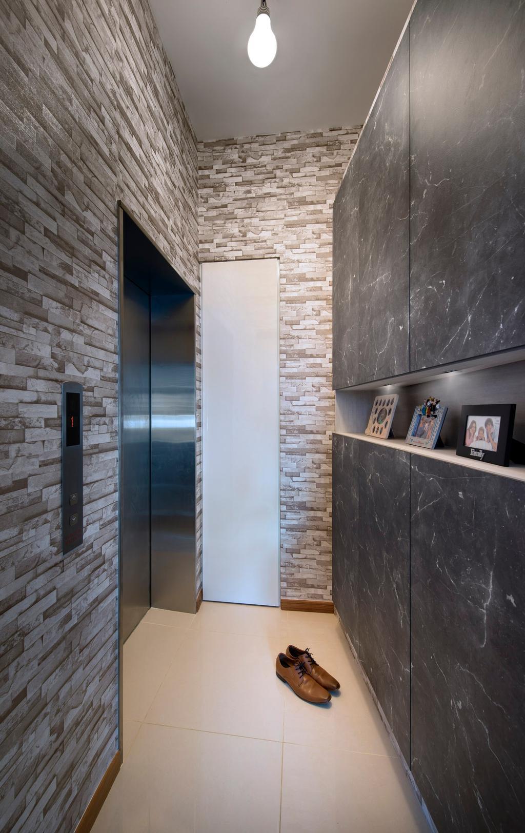 Contemporary, Condo, Waterline, Interior Designer, Ciseern, Craft Stone Wall, Shoes Cabinet, Marble Tils