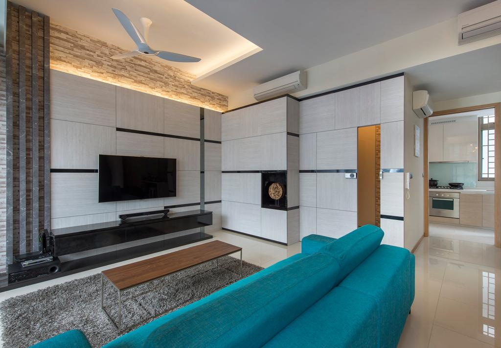 Contemporary, Condo, Living Room, Waterline, Interior Designer, Ciseern, Cove Lights, White Ceiling Fan, Craft Stones, Marble Tiles, Turquoise Sofa, Tv Console, Grey Rug, Rectangular Coffee Table, White Feature Wall, Shoes Cabinet, Fireplace, Hearth