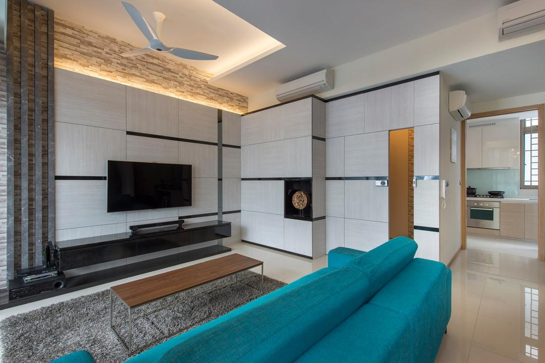 Waterline, Ciseern, Contemporary, Living Room, Condo, Cove Lights, White Ceiling Fan, Craft Stones, Marble Tiles, Turquoise Sofa, Tv Console, Grey Rug, Rectangular Coffee Table, White Feature Wall, Shoes Cabinet, Fireplace, Hearth