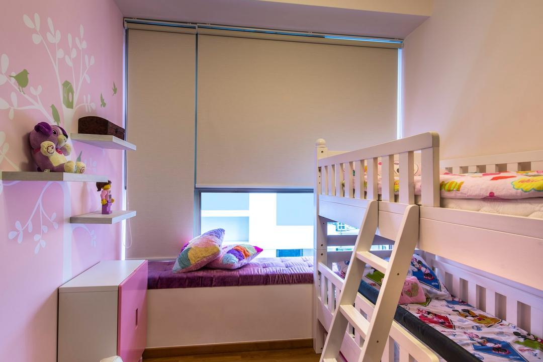 Waterline, Ciseern, Contemporary, Bedroom, Condo, Roler Blinds, Double Decker Be, Double Decker Bed, Kids Room, Children Room, Parquet, Bay Windown, Indoors, Nursery, Room, Box