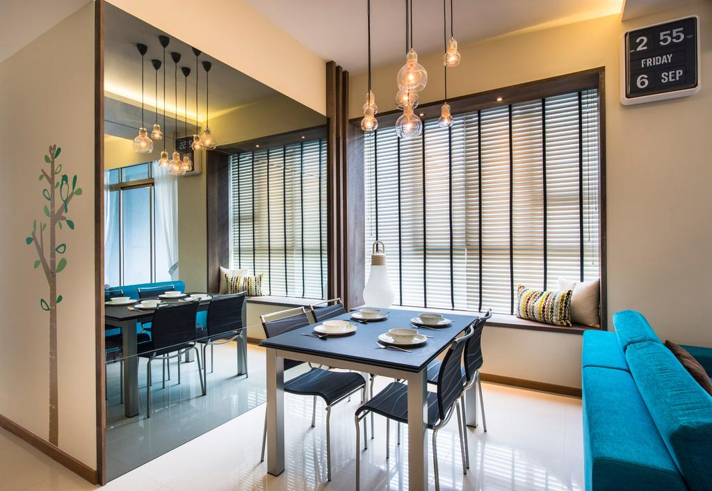 Contemporary, Condo, Dining Room, Waterline, Interior Designer, Ciseern, Wall Mirror, Wall Paper, Venetian Blinds, Bay Window, Square Dining Table, Dining Charis, Dining Lights, Retro Clock, Dining Table, Furniture, Table, Clock, Indoors, Room, Interior Design, Couch, Chair, HDB, Building, Housing