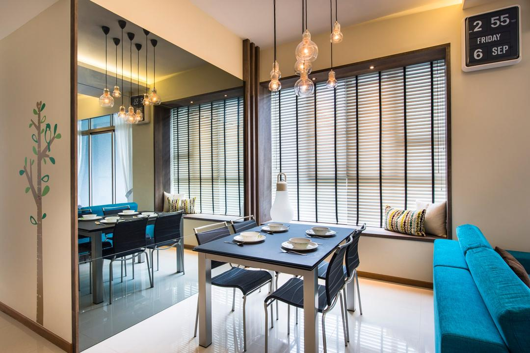 Waterline, Ciseern, Contemporary, Dining Room, Condo, Wall Mirror, Wall Paper, Venetian Blinds, Bay Window, Square Dining Table, Dining Charis, Dining Lights, Retro Clock, Dining Table, Furniture, Table, Clock, Indoors, Room, Interior Design, Couch, Chair, HDB, Building, Housing