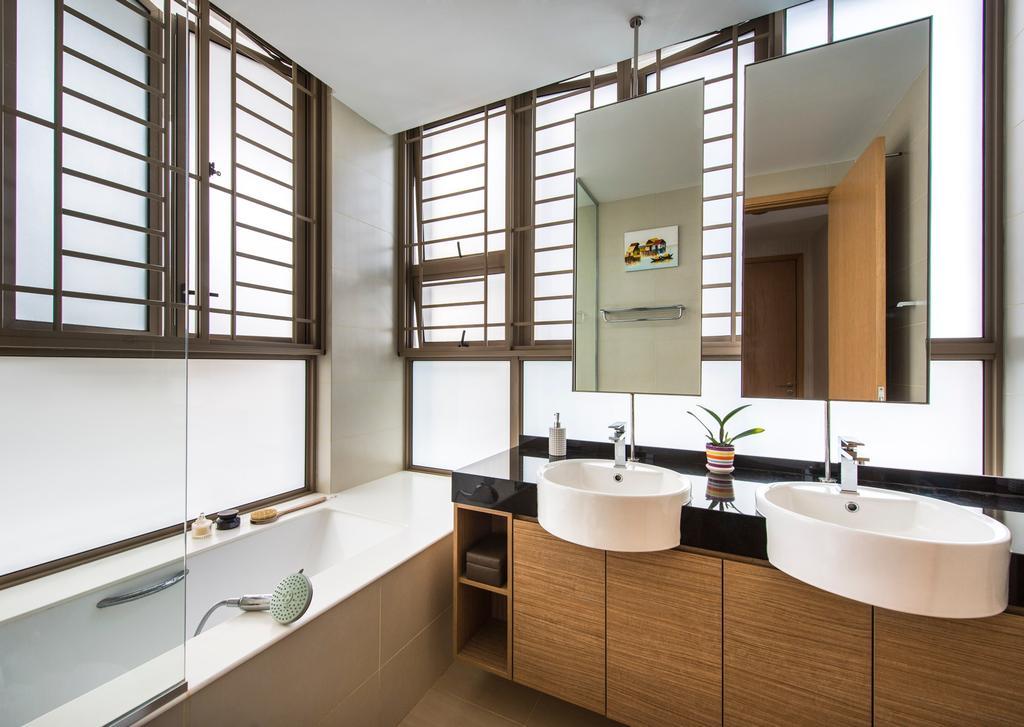 Contemporary, Condo, Bathroom, Waterline, Interior Designer, Ciseern, Mirror, Dual Sinks, Brown Cabinet, Bath Tub, Indoors, Interior Design, Room, Sink