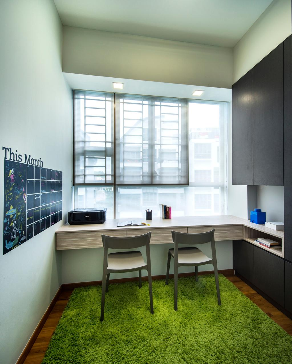 Contemporary, Condo, Study, Waterline, Interior Designer, Ciseern, Green Rug, Green Carpet, Roller Blinds, Study Table, Cabinets, Dining Table, Furniture, Table, HDB, Building, Housing, Indoors