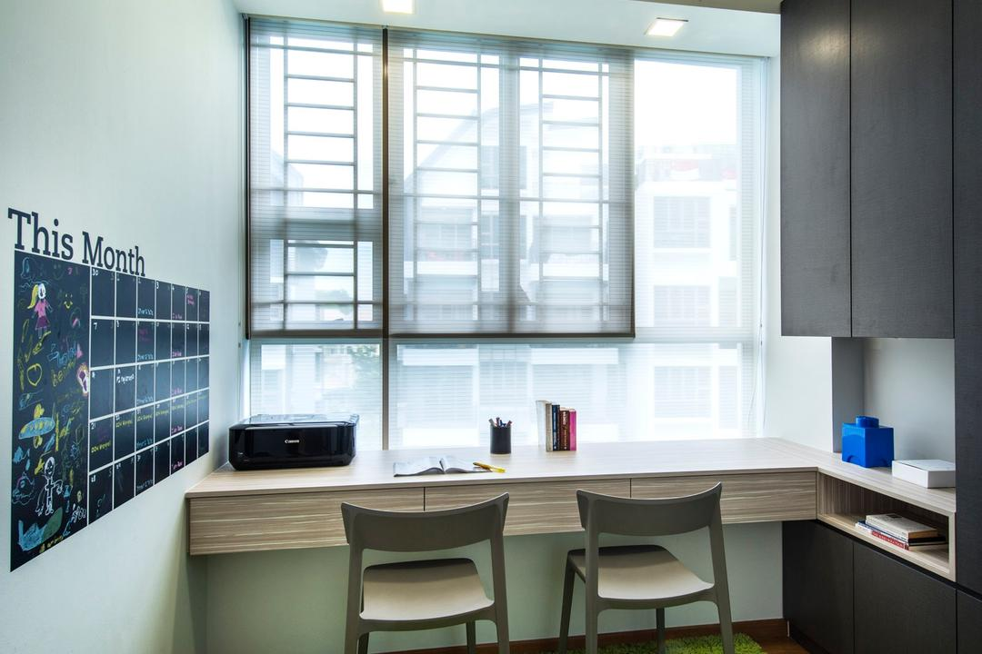 Waterline, Ciseern, Contemporary, Study, Condo, Green Rug, Green Carpet, Roller Blinds, Study Table, Cabinets, Dining Table, Furniture, Table, HDB, Building, Housing, Indoors