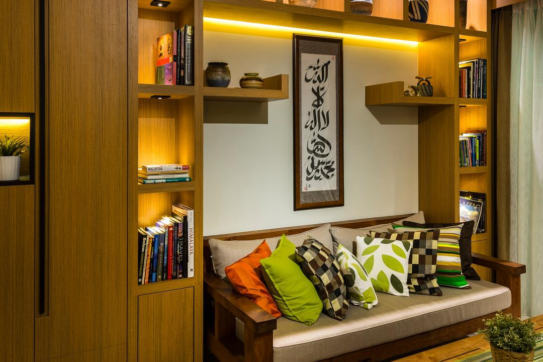 Vacanza, Ciseern, Transitional, Contemporary, Living Room, Condo, Wood Shelving, Wood Sofa, Book, Bookcase, Furniture, Shelf