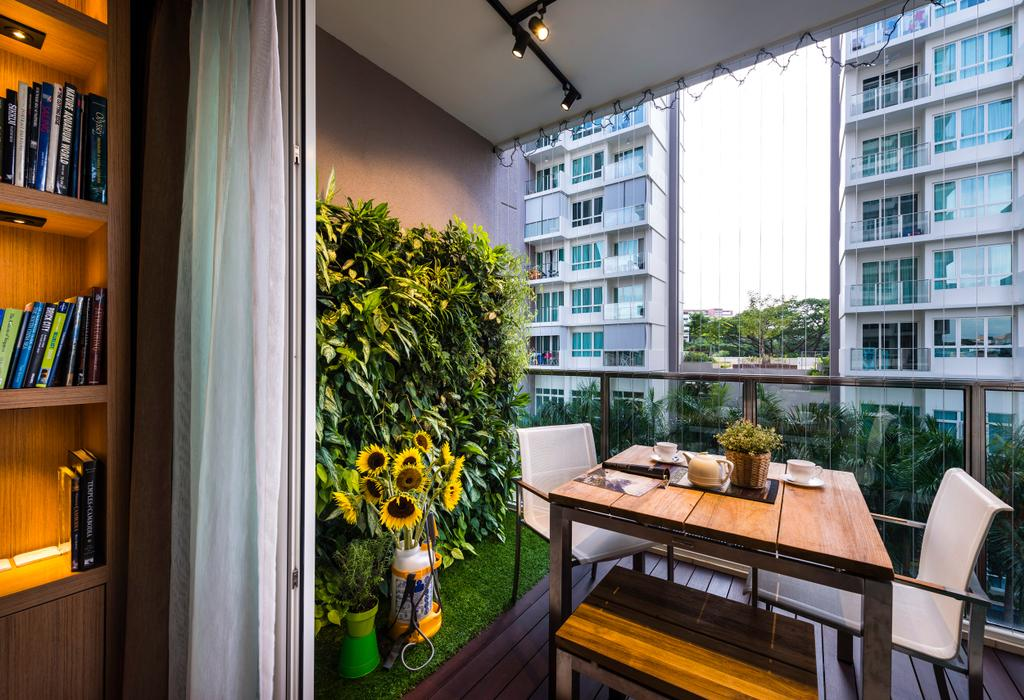Transitional, Condo, Balcony, Vacanza, Interior Designer, Ciseern, Contemporary, Wall Plants, Balcony Dining Table, Balcony Dining Chairs, Flora, Jar, Plant, Potted Plant, Pottery, Vase, Chair, Furniture, Bookcase, Dining Table, Table, Hardwood, Stained Wood, Wood, Dining Room, Indoors, Interior Design, Room, Bonsai, Tree