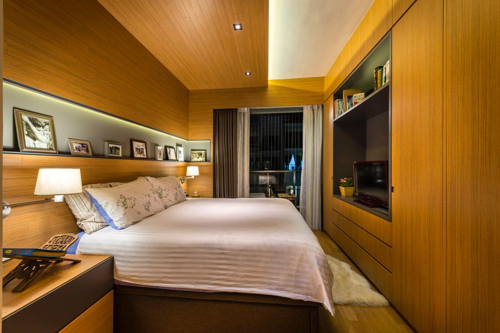 Transitional, Condo, Bedroom, Vacanza, Interior Designer, Ciseern, Contemporary, Wood Ceiling, Donw Lights, Cove Lights, Wood Headboard, Wood Feature Wall, Wood Wardrobe, Bed, Furniture, Indoors, Interior Design, Room, Electronics, Entertainment Center