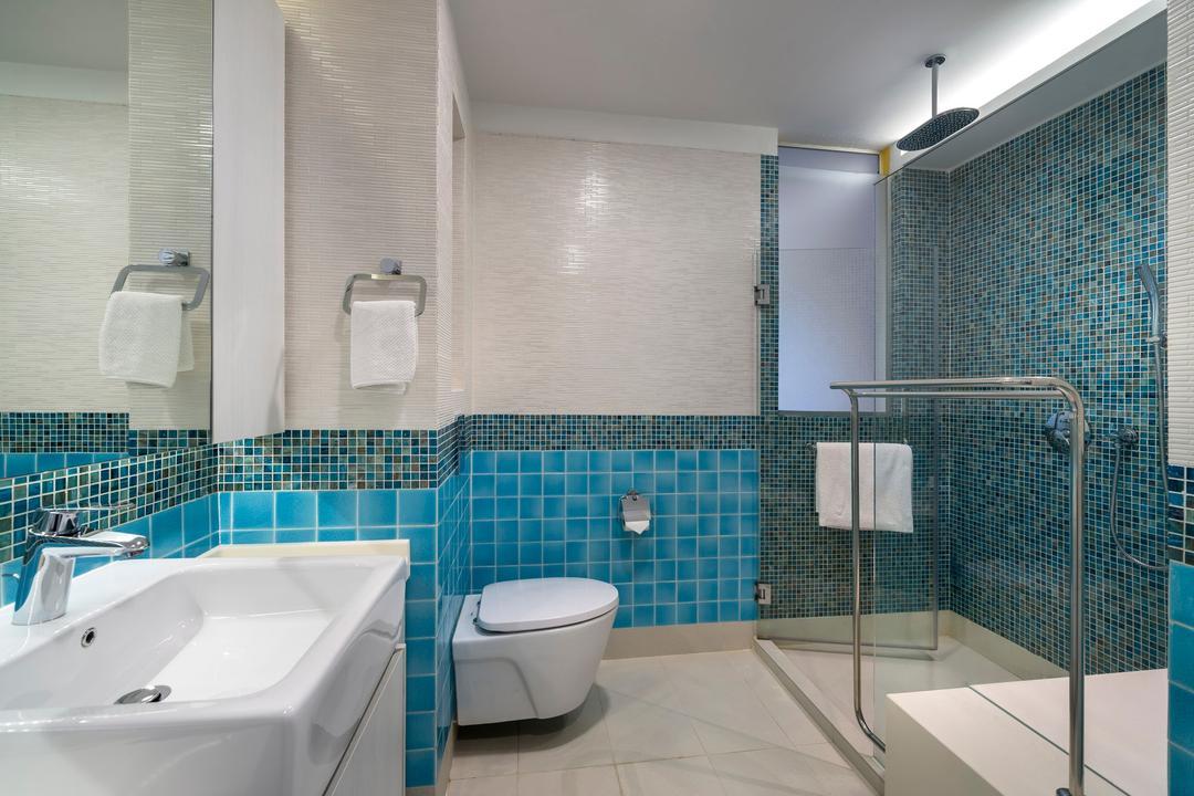 Sunrise Walk, Ciseern, Contemporary, Bathroom, Landed, Blue Wall Tiles, Cove Lights, Shower Screen, Sink, Toilet, Indoors, Interior Design, Room