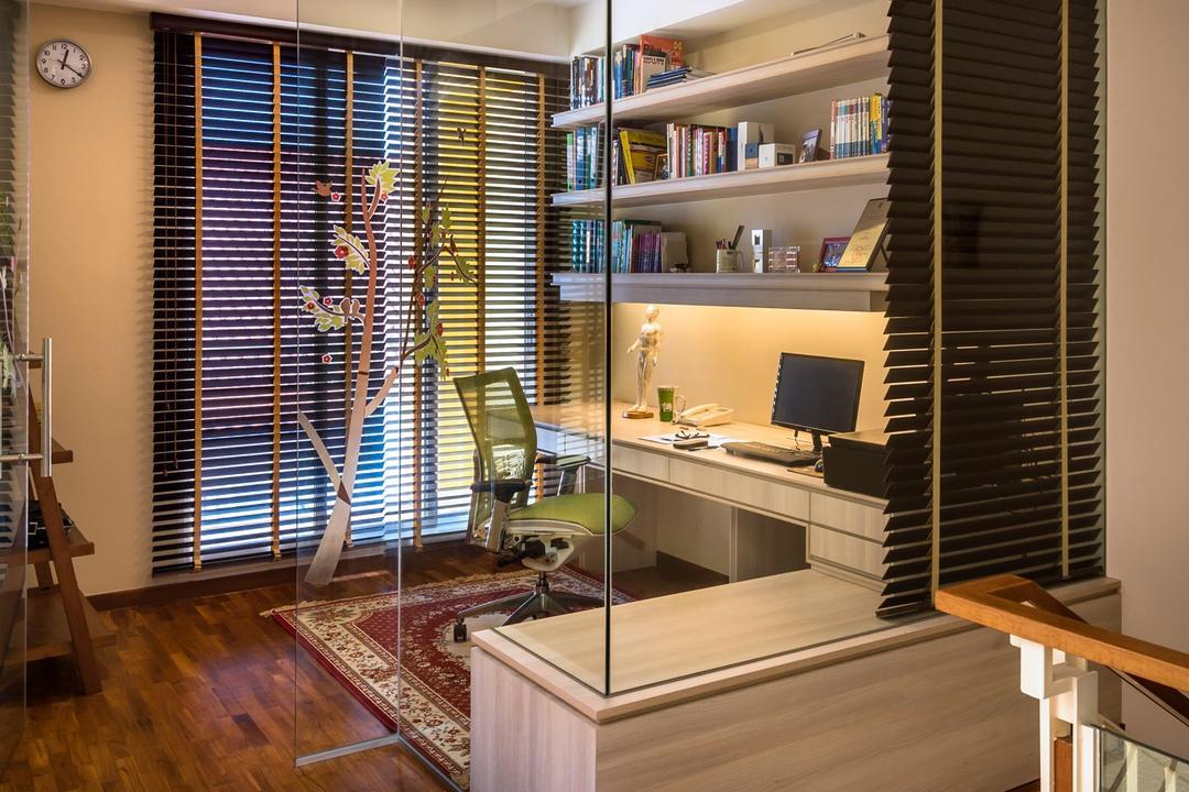 Sunrise Walk, Ciseern, Contemporary, Study, Landed, Parquet, Study Desk, Book Shelf, Glass Door, Banister, Handrail, Staircase, Indoors, Interior Design