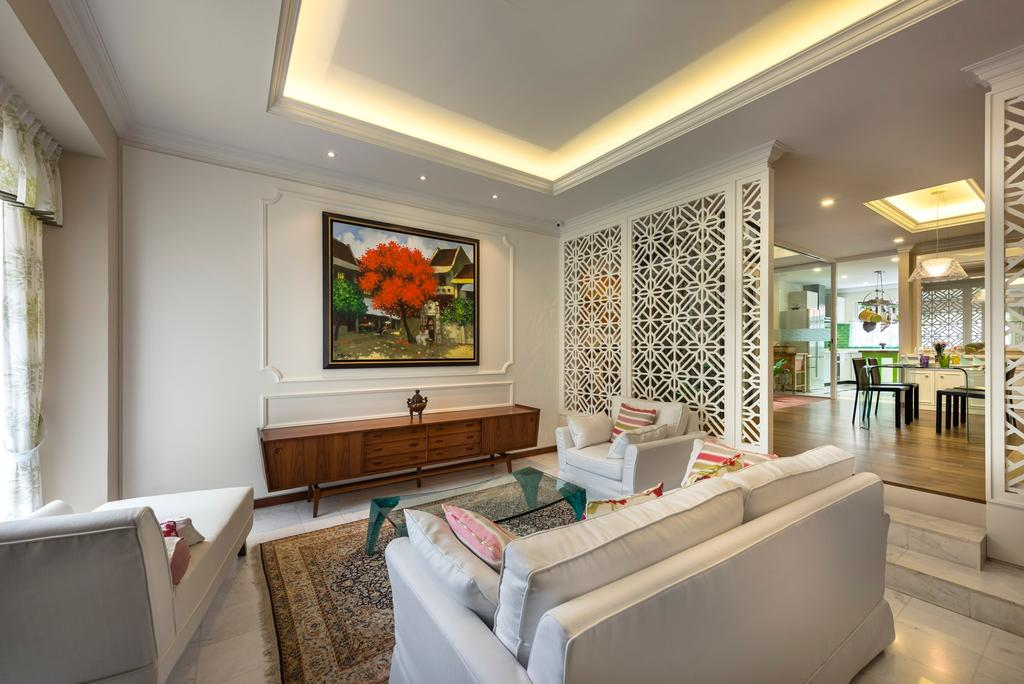 Contemporary, Landed, Living Room, Sunrise Walk, Interior Designer, Ciseern, Cove Lights, White, Cean, Pattern Partition, White Fabric Sofa, Carpet, Lounge Sofa, Console, Flora, Jar, Plant, Potted Plant, Pottery, Vase, Couch, Furniture, Tub