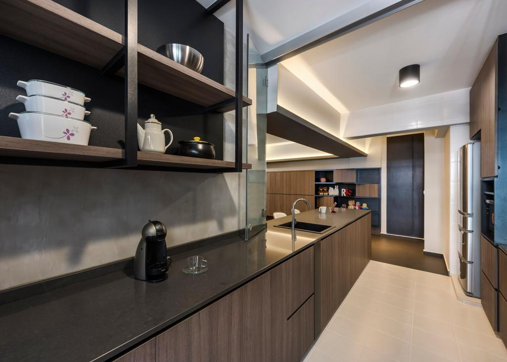 Industrial, HDB, Kitchen, Pasir Ris, Interior Designer, Ciseern, Dry Kitchen, Wood Cabinet, Cove Lights, Cup, Door, Sliding Door, Indoors, Interior Design