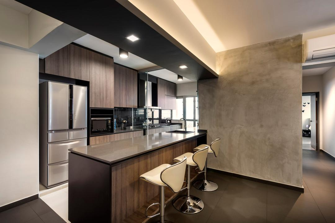 Pasir Ris, Ciseern, Industrial, Kitchen, HDB, Cove Light, Down Lights, Island Table, High Chairs, Cement Screed Wall, Dry Kitchen, Chair, Furniture, Dining Room, Indoors, Interior Design, Room