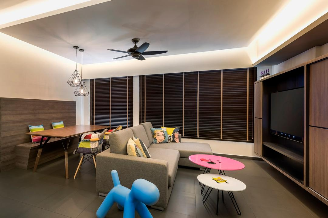 Pasir Ris, Ciseern, Industrial, Living Room, HDB, Cove Light, Black Ceiling Fan, Brown Venetian Blinds, Wood Headboard, Grey Fabric Sofa, Black Homogenous Tiles, Chair, Furniture, Indoors, Interior Design, Dining Table, Table, Room, Electronics, Entertainment Center