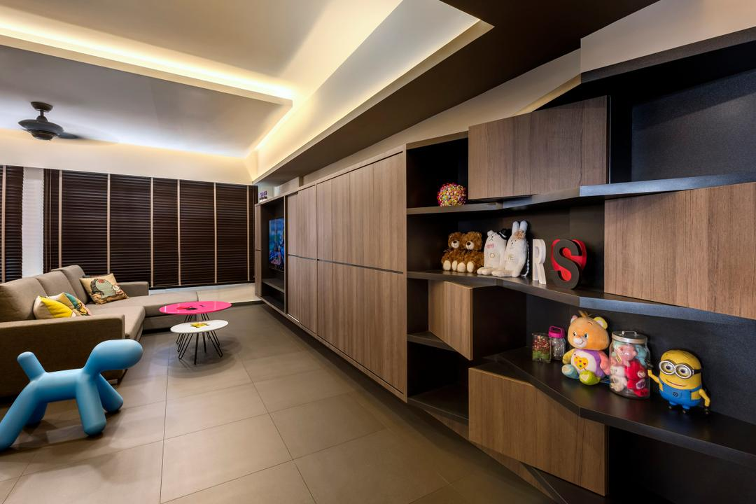 Pasir Ris, Ciseern, Industrial, Living Room, HDB, Wood Cabinets, Wood Shelving, Brown Venetian Blinds, Cove Lights, Grey Sofa, Pink Cofee Table, Black Homogenous Tiles, Shelf