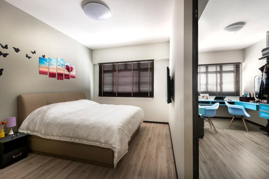 Pasir Ris, Ciseern, Industrial, Bedroom, HDB, Vinyl Floor, Wall Art, Black Bedside Table, Mirror Wardrobe, Venetian Blinds, Indoors, Office, Interior Design, Room