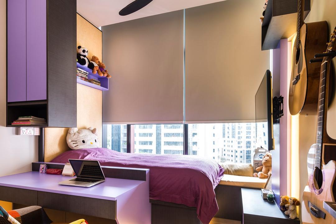 Cube 8, Ciseern, Modern, Bedroom, Condo, Covelights, Roller Blinds, Ceiling Fan, Purple Study Desk, Purple Shelving, Guitar, Leisure Activities, Music, Musical Instrument, Indoors, Interior Design