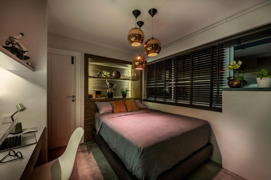 Chay Yan Street, Ciseern, Industrial, Bedroom, Condo, Bedroom Lights, Venetian Blinds, Dark Dim, Study Desk, Bed, Furniture, Indoors, Interior Design, Room