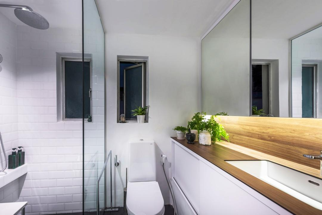 Chay Yan Street, Ciseern, Industrial, Bathroom, Condo, Kompac, Kompactop, Sink, Mirror Cabinet, Shower Screen, Shower, Indoors, Interior Design, Flora, Jar, Plant, Potted Plant, Pottery, Vase, Door, Room, Toilet