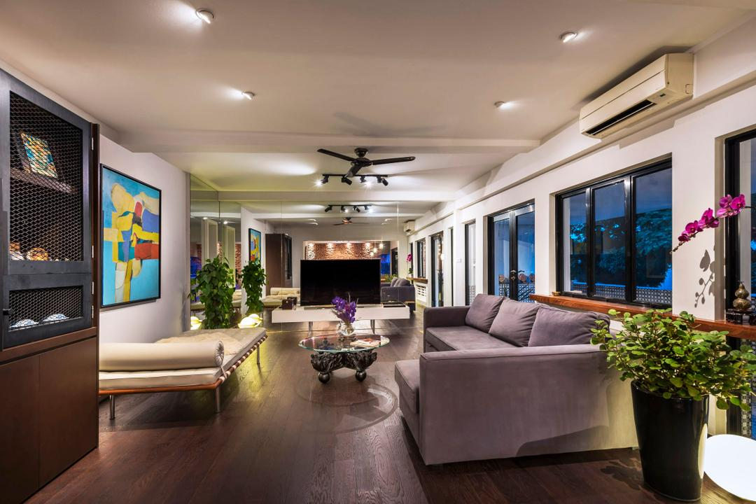 Chay Yan Street, Ciseern, Industrial, Living Room, Condo, Down Lights, Black Ceiling Fan, Black Track Lights, Track Lights, Grey Fabric Sofa, Grey Sofa, Display Cabinet, Flora, Jar, Plant, Potted Plant, Pottery, Vase, Couch, Furniture, Indoors, Interior Design