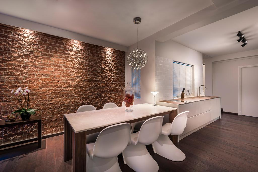 Industrial, Condo, Dining Room, Chay Yan Street, Interior Designer, Ciseern, Brick Wall, Brown Brick Wall, White Dining Chairs, Rectangular Dining Table, Dining Lights, Wood Floor, Dry Kitchen, Flora, Jar, Plant, Potted Plant, Pottery, Vase, Indoors, Interior Design, Room, Chair, Furniture
