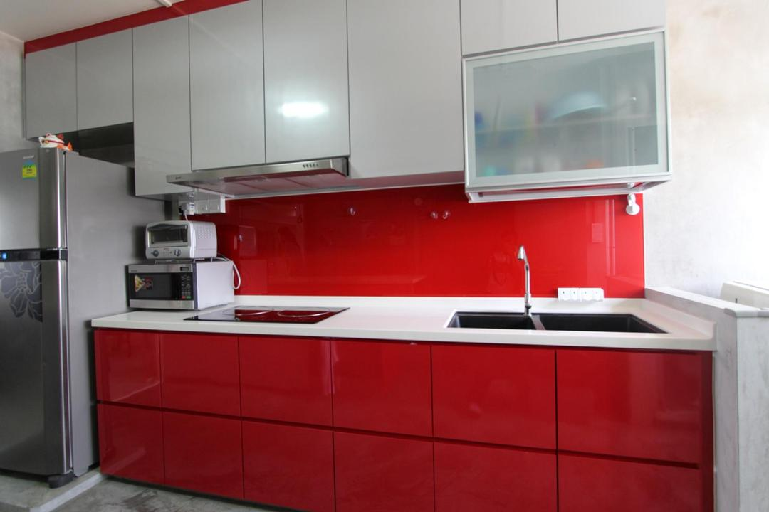 Pasir Ris (Block 642), Ingenious Design Solutions, Traditional, Kitchen, HDB, White, Red, Glass Wall, Glossy, Laminate, Cabinet, Monochrome, Kitchen Counter, Cement Flooring, Indoors, Interior Design, Room, Building, Housing, Loft