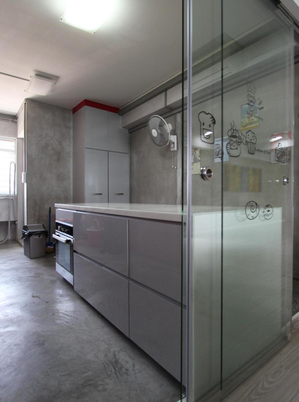 Traditional, HDB, Kitchen, Pasir Ris (Block 642), Interior Designer, Ingenious Design Solutions, Gray, White, Laminate, Glossy, Glass Wall, Glass Sliding Doors, Doors, Sliding Doors, Cement Flooring, Kitchen Counter, Appliance, Electrical Device, Oven