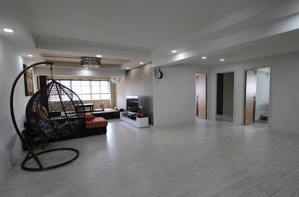 Traditional, HDB, Living Room, Pasir Ris (Block 642), Interior Designer, Ingenious Design Solutions, Hanging Chair, Chandelier, Airy, False Ceiling, White, Parquet, Wallpaper, Flooring, Door, Sliding Door, Chair, Furniture