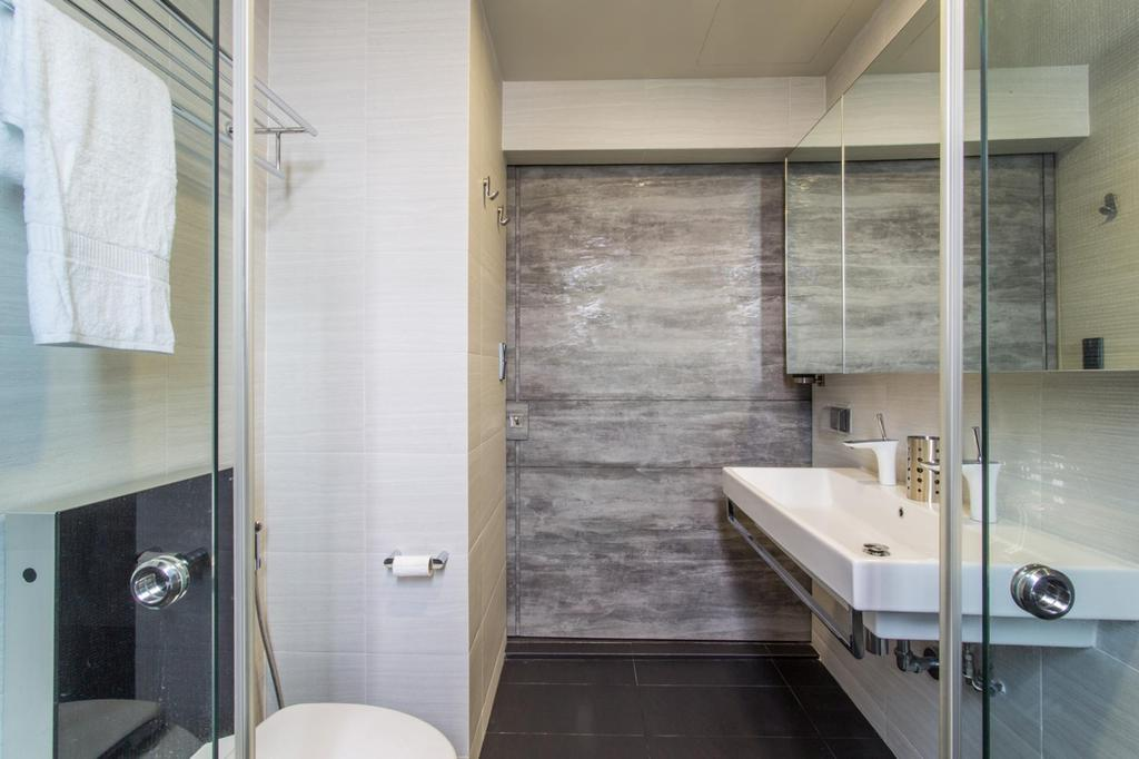 Modern, Condo, Bedroom, Lower Delta Road, Interior Designer, Ingenious Design Solutions, Mirror, Gray, Tile, Tiles, Beige, Neutral Tones, Bathroom, Indoors, Interior Design, Room