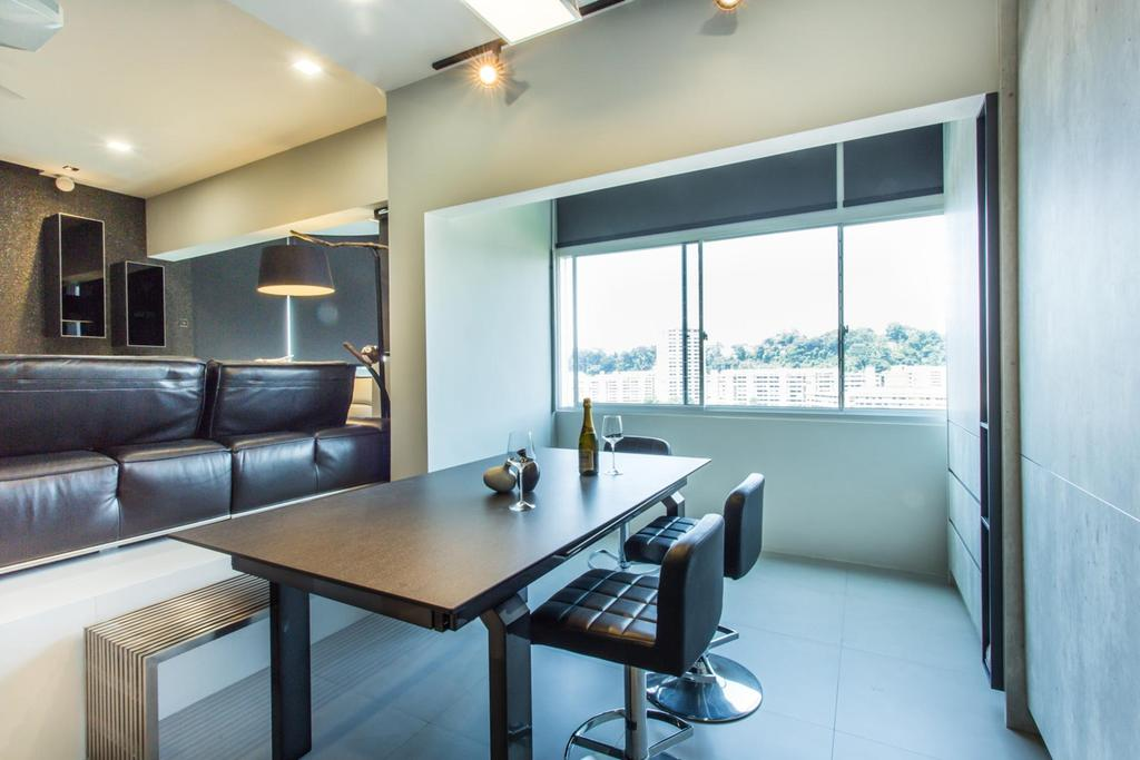 Modern, Condo, Dining Room, Lower Delta Road, Interior Designer, Ingenious Design Solutions, Shelf, Shelves, Standing Lamp, Dining Table, Table, Chair, Quilted, Track Lighting, False Ceiling, Bench, Tile, Tiles, Furniture, Indoors, Interior Design, Room, Conference Room, Meeting Room, Siding, Couch