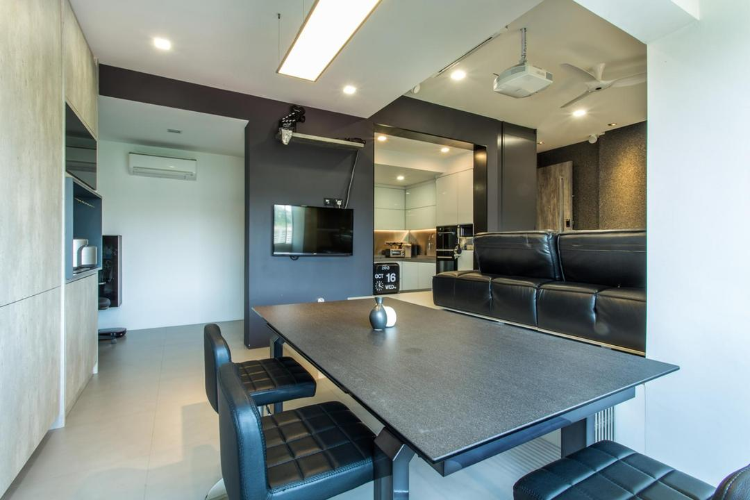 Lower Delta Road, Ingenious Design Solutions, Modern, Dining Room, Condo, Tile, Tiles, Shelf, Shelves, Hanging Light, Dining Table, Table, Chair, Quilted, Ceiling Fan, Home Theatre, White, Black, Monochrome, False Ceiling, Furniture, Couch, Indoors, Interior Design, Room