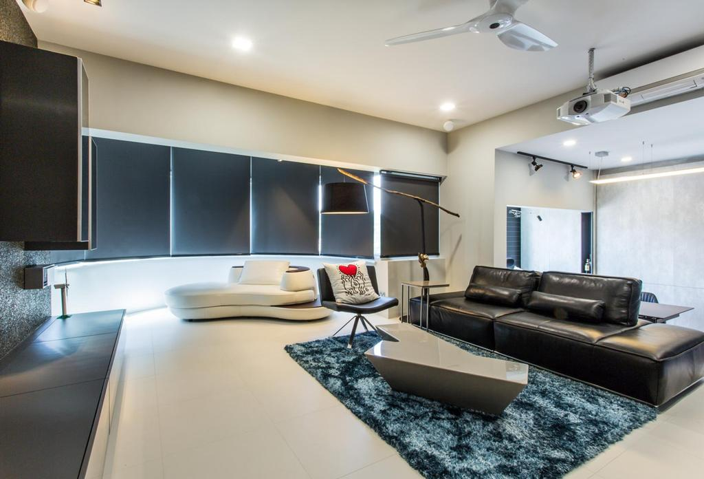 Modern, Condo, Living Room, Lower Delta Road, Interior Designer, Ingenious Design Solutions, Standing Lamp, Blinds, Rug, Coffee Table, Table, Chair, Sofa, Tv Console, Home Theatre, Ceiling Fan, Side Table, White, Black, Monochrome, Indoors, Interior Design, Couch, Furniture