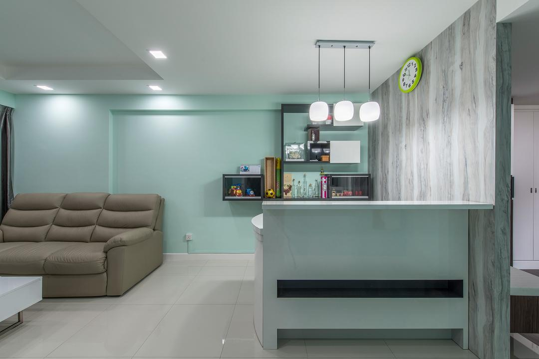 Fernvale Link, Ace Space Design, Transitional, Living Room, HDB, Mint Green, Sofa, Couch, Leather Sofa, Pendant Lamp, Hanging Lamp, Wood, Wallpaper, Woody Wallpaper, Shelves, Floating Shelves, Shelf